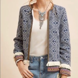 New Tribal jacket with fringe XS blue, white